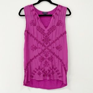 SOLD - Lucky Brand Fuchsia Beaded Embroidered Tank